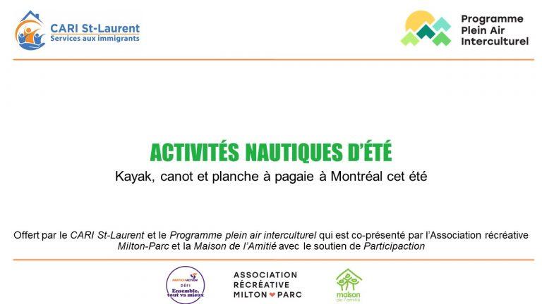 Les activités nautiques à Montréal, été 2021
